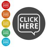 O ` clica aqui o botão do `, clica aqui o ícone, clica aqui o sinal Imagem de Stock Royalty Free