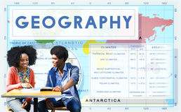 O clima do mundo do mapa da geografia detalha o conceito Fotos de Stock Royalty Free