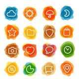 O clipart branco dos ícones da relação da Web na cor borra ilustração stock