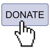 O clique da mão doa o botão ilustração stock