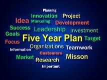 O clique do plano de cinco anos significa a estratégia para Imagens de Stock Royalty Free