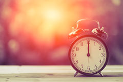 12 o`clock Clock Classic Vintage Retro Color Tone. Royalty Free Stock Photo