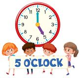 5 o`clock and students vector illustration