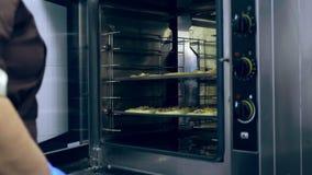 O close-up, o cozinheiro põe em um grande forno industrial, uma bandeja de cozimento com bolos, pizza fez com massa de fermento,  vídeos de arquivo
