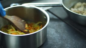 O close-up, o cozinheiro prepara alimentos diferentes no fogão carne de guisados em um frigideira, bandeja Cebolas profissionais  vídeos de arquivo