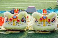 O close-up de Dragon Head amarelo, dança do dragão é um formulário da dança tradicional e do desempenho na cultura chinesa imagem de stock
