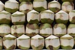 O close up de jovens frescos bebe o coco em um mercado local do chatuchak do mercado do alimento da rua em Tailândia, Ásia Foto de Stock