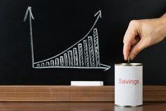 O close-up de Person Inserting Coin In Saving pode fotos de stock royalty free