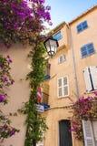 O close-up de um canto mediterrâneo francês típico, com suas fachadas e construções cor-de-rosa, gavinhas com oliander roxo flore foto de stock