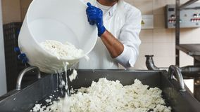 O close-up de um homem derrama a massa do queijo no recipiente para o bloco imagem de stock royalty free