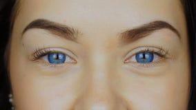 O close-up de um ` s da jovem mulher eyes em lentes de contato azuis vídeos de arquivo