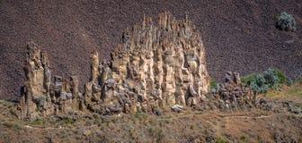O close-up de uma formação de rocha perto de Palouse cai Imagem de Stock