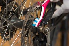O close up detalhou o olhar em mecânicos de deslocamento da engrenagem da roda de bicicleta durante reparos da manutenção, escova Imagem de Stock Royalty Free
