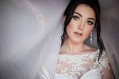 O close up disparou de uma noiva elegante, moreno em dres do branco do vintage Foto de Stock Royalty Free