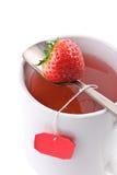 O close up disparou do copo do chá da fruta fotografia de stock