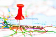 O close-up disparou sobre a cidade de Edimburgo no mapa, Escócia Imagens de Stock
