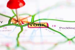 O close-up disparou sobre a cidade de York no mapa, Reino Unido Imagens de Stock Royalty Free