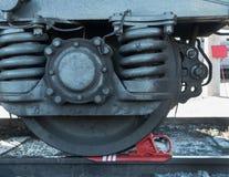 O close up do carro de trem da roda Fotos de Stock Royalty Free