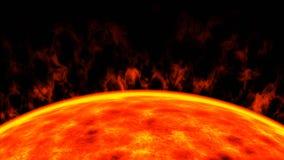 O close up do sol da estrela de anão vermelho, 3d rende fotos de stock