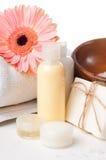 O Close-up dos produtos para termas e o corpo importam-se Foto de Stock