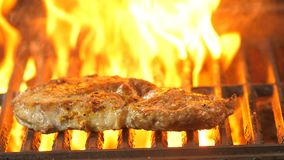 O close-up grelhado do bife na grade na chama dos carvões, cozinheiro chefe do fundo gerencie carne-quelas, película do lento-mov filme
