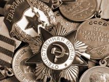 O close-up orden ` patriótico da guerra do ` do grande na perspectiva das medalhas do combate na fita do ` s de St George foto de stock royalty free