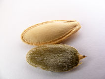 O close-up secou sementes de abóbora nuts e pinturas interiores Fotografia de Stock Royalty Free