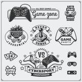 O clube do jogo de vídeo simboliza, etiquetas, ícones, crachás e elementos do projeto Imagem de Stock