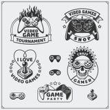 O clube do jogo de vídeo simboliza, etiquetas, ícones, crachás e elementos do projeto Fotografia de Stock Royalty Free