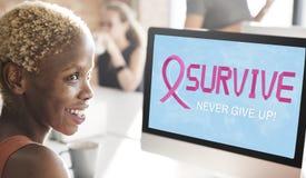 O câncer da mama acredita o conceito da doença da mulher da esperança Fotografia de Stock