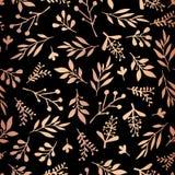 O cobre aumentou folha de ouro floral no teste padrão preto ilustração do vetor