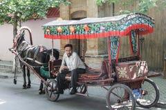 O cocheiro na cidade Fotos de Stock Royalty Free