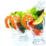 O cocktail clássico do camarão, descasca todos os camarões Quebre o lettuc Imagem de Stock