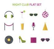 O cocktail do clube noturno, grupo do ícone da música do disco, vector o plano Imagem de Stock Royalty Free