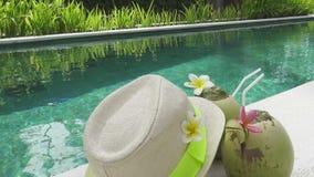 O cocktail no coco e em um chapéu de palha a encontrar-se perto da associação no recurso tropical vídeos de arquivo