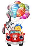 O coelhinho da Páscoa com os pintainhos que conduzem um carro leva ovos da páscoa Imagens de Stock