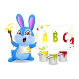 O coelho alegre tira no papel Fotografia de Stock