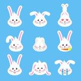 O coelho bonito de easter dirige o vetor dos emoticons Etiqueta do feriado do coelhinho da Páscoa ilustração stock