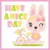 O coelho bonito do bebê e a ilustração dos desenhos animados da bicicleta da flor para a camisa da criança t projetam ilustração stock