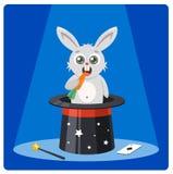 O coelho bonito em um chap?u m?gico r?i cenouras truque fabuloso em um partido cartaz da cor com caráter e chapéu alto da lebre ilustração royalty free