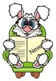 O coelho branco senta-se em uma poltrona e lê-se a notícia Fotos de Stock Royalty Free