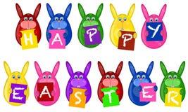 O coelho de Easter Eggs sinais do cumprimento do alfabeto da terra arrendada Fotografia de Stock