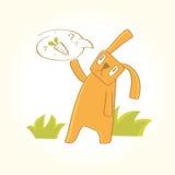 O coelho está procurando cenouras Fotografia de Stock