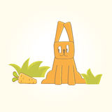 O coelho está procurando cenouras Fotografia de Stock Royalty Free