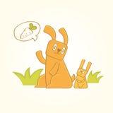 O coelho está procurando cenouras Fotos de Stock