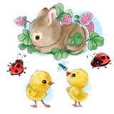 O coelho feliz com desenhos animados dos ovos da páscoa, dos pintainhos e dos erros isolou o clipart no fundo branco Fotografia de Stock