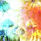 O cogumelo tampa ilustrações abstratas do fundo do Grunge da aquarela Fotos de Stock