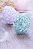 O colorfull bonito da decoração do ovo da páscoa eggs a cor pastel sazonal Fotografia de Stock