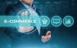 O comércio eletrônico adiciona ao conceito em linha do Internet da tecnologia do negócio da compra do carro imagens de stock royalty free