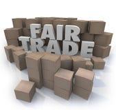 O comércio justo exprime o negócio do responsável das caixas de cartão das letras 3d Fotografia de Stock Royalty Free